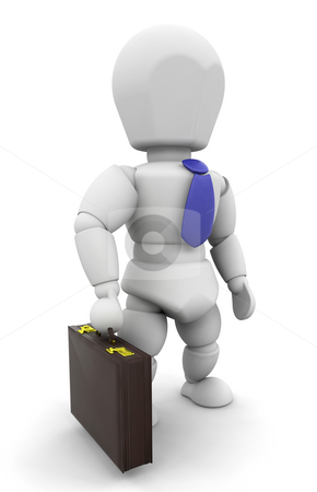 Businessman stock photo, 3D render of a businessman with a briefcase by Kirsty Pargeter