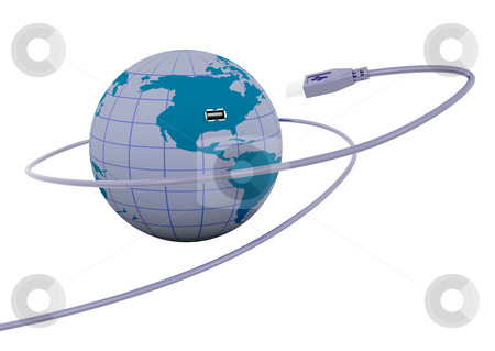 Connectivity stock photo, 3D render of a USB cable connecting to a globe by Kirsty Pargeter