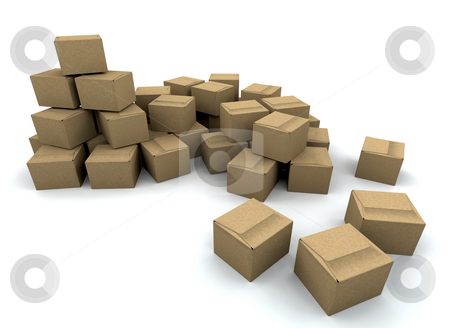 Stack of boxes stock photo, 3D render of a stack of boxes by Kirsty Pargeter