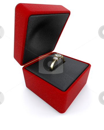Engagement ring stock photo, Gold engagment ring in a red ring box by Kirsty Pargeter