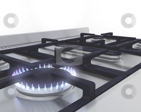 Gas hob stock photo, 3D render of a lit gas ring by Kirsty Pargeter