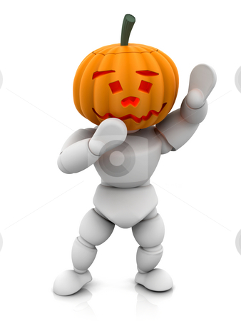Pumpkinman stock photo, 3D render of pumpkin man by Kirsty Pargeter