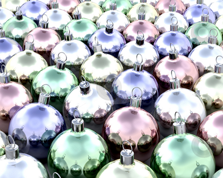 Christmas baubles stock photo, 3D render of lots of Christmas baubles by Kirsty Pargeter