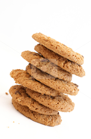Cookies stock photo, Stack of chocolate chip cookies by Kirsty Pargeter
