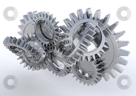 Gears stock photo, 3D render of interlocking gears by Kirsty Pargeter