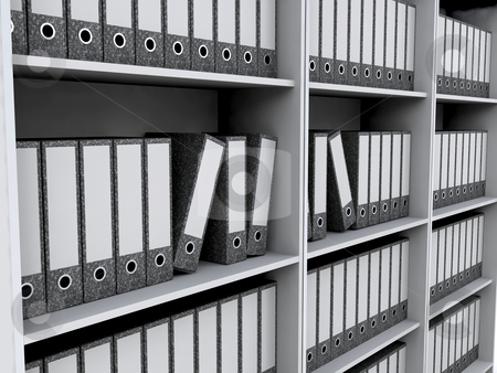 Files on bookshelves stock photo, 3D render of files on bookshelves by Kirsty Pargeter