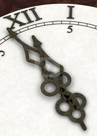 Minutes to midnight stock photo, 3D render of a clock face showing minutes to the New Year by Kirsty Pargeter