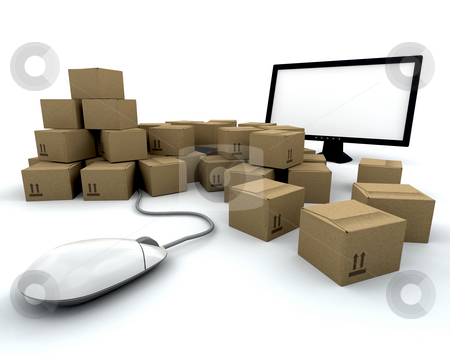 Online shopping stock photo, 3D render depicting online shopping by Kirsty Pargeter