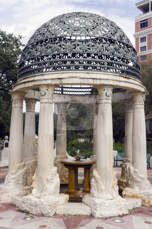 Gazebo Fountain stock photo, A old classical gazebo with a small fountain by Kevin Tietz