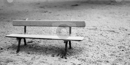 Bench stock photo, A solitary bench in a snowy landscape by Fabio Alcini