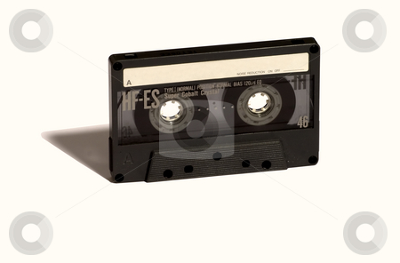 Old audio tape stock photo, Gray old audio music tape, with white label by Fabio Alcini