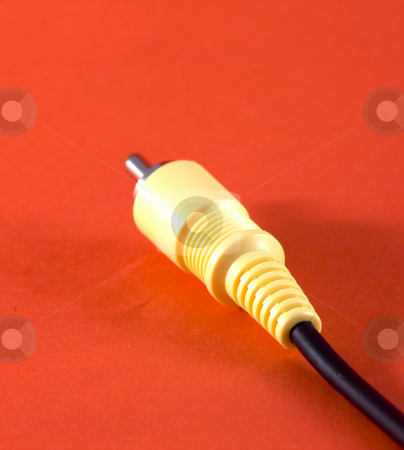 Cable stock photo, Head of a yellow video cable by Fabio Alcini