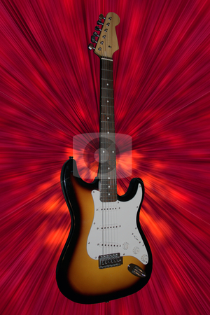Guitar stock photo, Electric guitar on red background by Fabio Alcini
