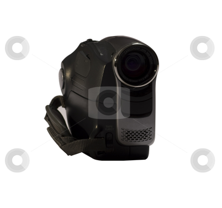 Videocamera stock photo, An isolated amateur camcorder on a white background by Fabio Alcini