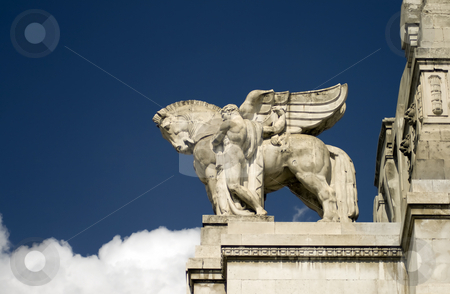 Flying horse stock photo, Stone horse with wings over an Italian station by Fabio Alcini
