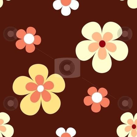 Seamless retro flower pattern stock vector clipart, Retro flowers in bright yellow, orange and white on dark red brown background that will tile seamlessly. 7 global colours. by Ina Wendrock