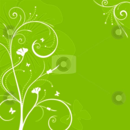 Floral green background with swirls stock vector clipart, Square green ornate background with floral swirls. 5 global colors. by Ina Wendrock