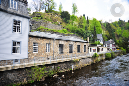 Monschau Germany stock photo, Buildings and river in Monschau Germany by Jaime Pharr