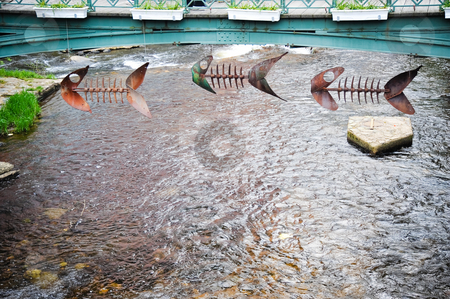 Monschau stock photo, Bridge, river and sculpture in Monschau by Jaime Pharr