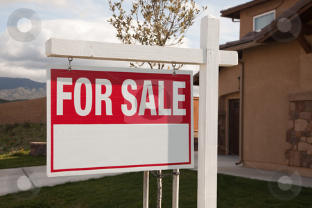 For Sale Real Estate Sign stock photo, For Sale Real Estate Sign in Front of House Ready for Your Own Copy. by Andy Dean
