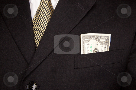 Dollar Bill in Businessman's Coat Pocket stock photo, United Stated Dollar Bill in Businessman's Coat Pocket. by Andy Dean