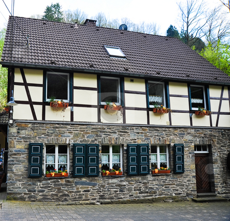 Monschau  stock photo, Half-timbered house in Monschau Germany by Jaime Pharr
