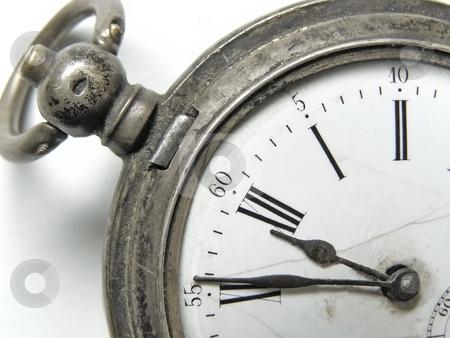 Five minute till twelve stock photo, Vintage silver clock show five minute till twelve by Sergej Razvodovskij