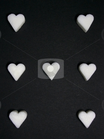 Sugar card suit stock photo, Card suit of seven hearts from sugar by Sergej Razvodovskij