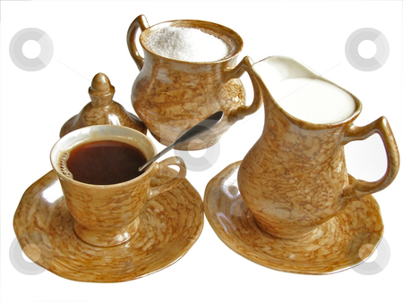 Coffee, cream and sugar stock photo, Cup of coffee,sugar and cream by Sergej Razvodovskij