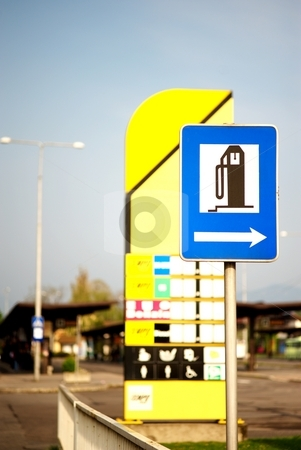 Gas station stock photo, Gas station traffic sign by Juraj Kovacik