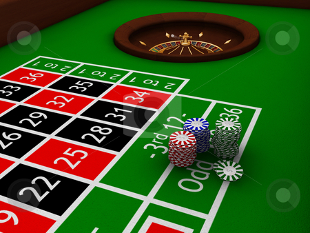 Roulette table stock photo, Chips on a roulette table by Kirsty Pargeter