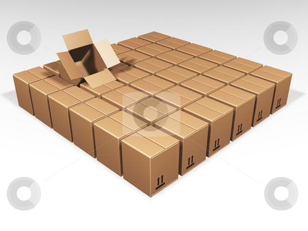 One open box stock photo, One open brown box amongst lots of closed ones by Kirsty Pargeter