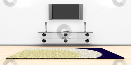 Modern lounge stock photo, 3D render of a tv screen on a wall in a modern lounge by Kirsty Pargeter