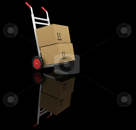 Hand truck with boxes stock photo, 3D render of hand truck with boxes by Kirsty Pargeter