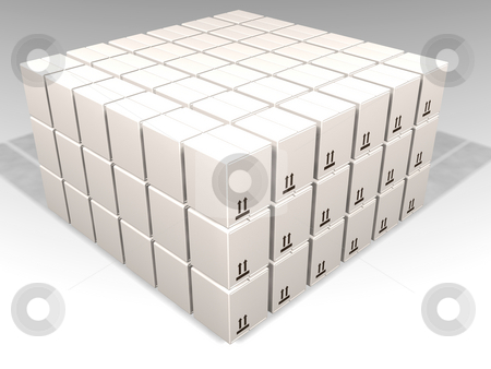 White boxes stock photo, 3D render of lots of white boxes by Kirsty Pargeter