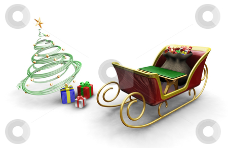 Santas sleigh stock photo, 3D render of Santas sleigh with a Christmas tree and presents by Kirsty Pargeter