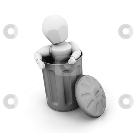 Person in trash can stock photo, 3D render of someone in a trash can by Kirsty Pargeter