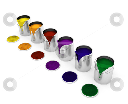 Paint cans stock photo, 3D render of dripping paint cans by Kirsty Pargeter