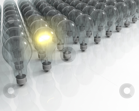 Glowing lightbulb stock photo, 3D render of one glowing light bulb amongst lots of unlit ones by Kirsty Pargeter