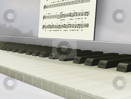 Piano keys stock photo, 3D render of piano keys and music by Kirsty Pargeter