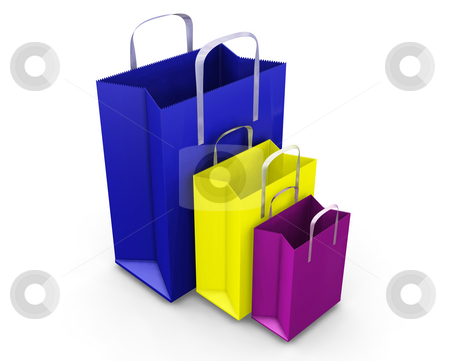 Shopping bags stock photo, 3D render of shopping bags by Kirsty Pargeter