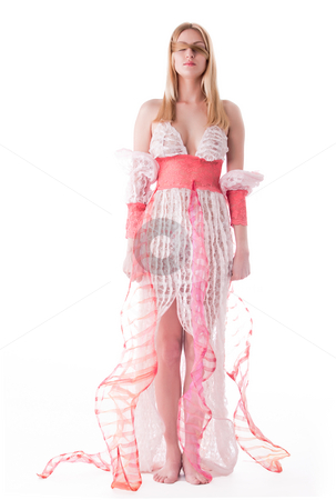 Thin woman posing high fashion style while her eyes are blinded stock photo, Portrait of a thin woman in a designer dress high fashion style by Frenk and Danielle Kaufmann