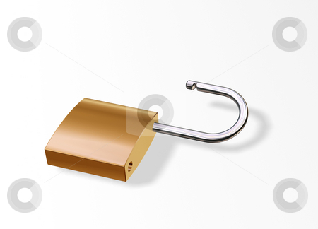 Open padlock stock photo, 3D render of an open padlock by Kirsty Pargeter