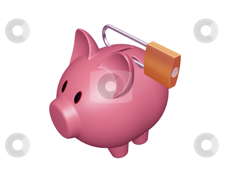 Financial security stock photo, 3D render of a piggy bank with a padlock by Kirsty Pargeter