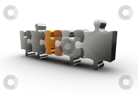 Puzzle pieces stock photo, 3D render of one gold puzzle piece with silver ones by Kirsty Pargeter