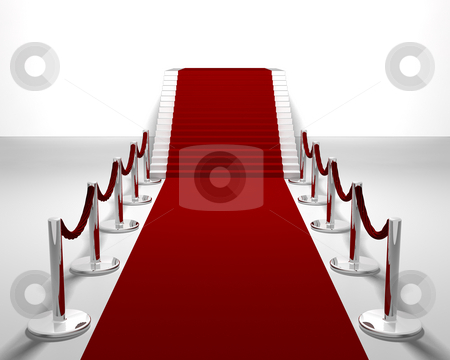 Red carpet stock photo, 3D render of a red carpet leading up stairs by Kirsty Pargeter
