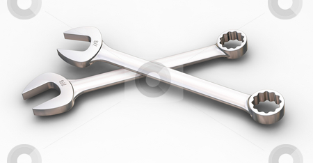 Spanners stock photo, 3D render of spanners by Kirsty Pargeter