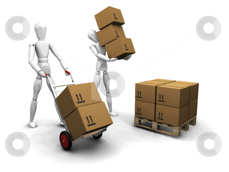 Teamwork stock photo, 3D render of workers stacking boxes by Kirsty Pargeter