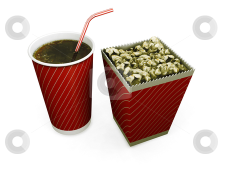 Soda and popcorn stock photo, 3D render of a soda drink and a carton of popcorn by Kirsty Pargeter