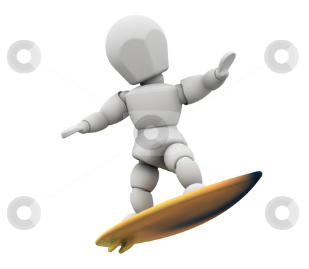 Surfer stock photo, 3D render of someone surfboarding by Kirsty Pargeter